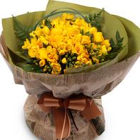 봄의전령 노랑후리지아꽃다발